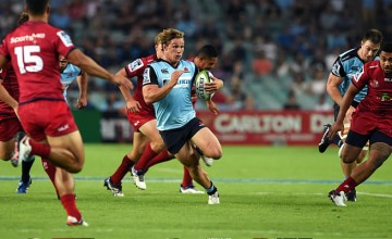 Michael Hooper on the run for the Waratahs
