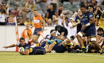 Argentina's Tomas Cubelli scores a try on debut for the Brumbies
