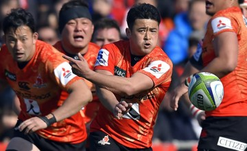 Atsushi Hiwasa clears the ball for the Sunwolves