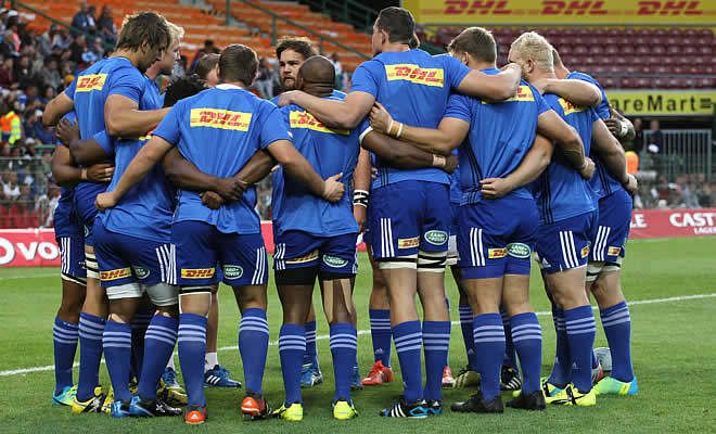 The Stormers gather in a huddle before a match