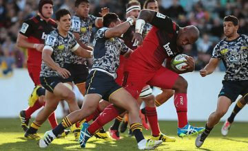 Tryscorer Nemani Nadolo powers towards the tryline