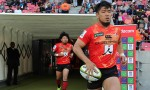 Shota Horie leads the Sunwolves out for a match