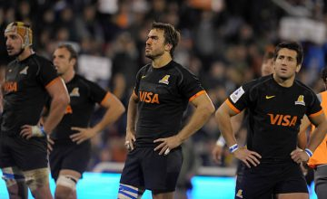 Jaguares' players react at the end of their Super Rugby match against the Sharks last week