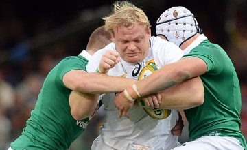 Springbok captain Adriaan Strauss gets shut down by Ireland