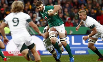 Iain Henderson tries to break through South African's defence