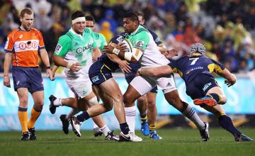 Waisake Naholo tries to break through for the Highlanders