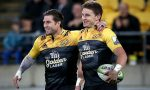 Cory Jane celebrates with Beauden Barrett