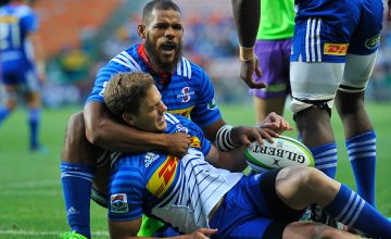 Nizaam Carr of the Stormers celebrates with SP Marais of the Stormers after scoring a try during the Super Rugby match between DHL Stormers and Jaguares