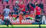 Ruan Combrinck of the Lions wins possession before Makazole Mapimpi of the Southern Kings