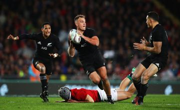 Israel Dagg of the All Blacks makes a break during the Test match between the New Zealand All Blacks and the British &; Irish Lions