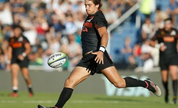Bautista Ezcurra of Jaguares kicks the ball during a match between Jaguares v Sharks as part of Super Rugby Rd 10
