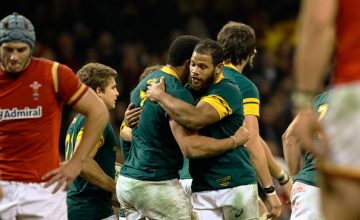 South Africa's Uzair Cassiem celebrates scoring his sides first try