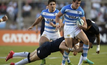 Argentina's Los Pumas wing Emiliano Boffelli (R) starts this weekend