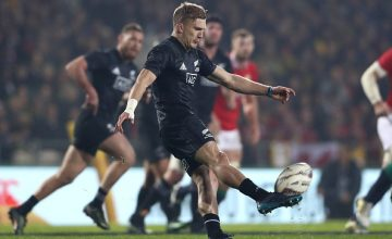 Damian McKenzie of the Maori All Blacks clears the ball during the 2017 British & Irish Lions tour