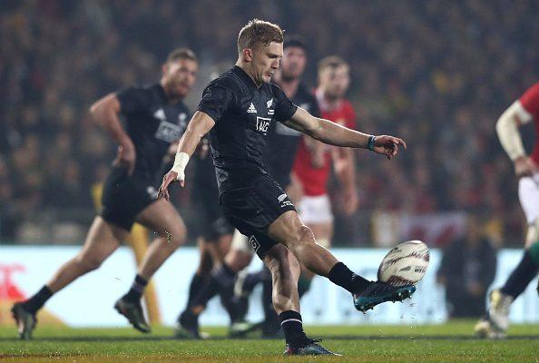 Damian McKenzie of the Maori All Blacks clears the ball during the 2017 British & Irish Lions tour