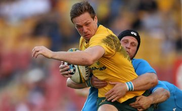 Dane Haylett-Petty of the Wallabies is tackled during the International Test match between the Australian Wallabies and Italy