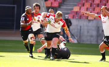 Jacques van Rooyen of the Lions in action during the Super Rugby match between Southern Kings and Emirates Lions