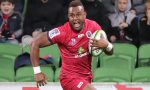 Eto Nabuli of the Reds runs in to score a try during the round 12 Super Rugby match between the Melbourne Rebels and the Queensland Reds