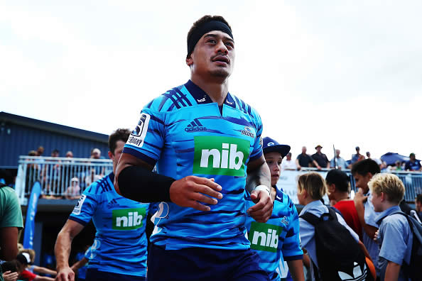 Augustine Pulu of the Blues runs out for the Super Rugby trial match between the Blues and the Hurricanes