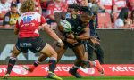 Sbu Nkosi of the Sharks with possession during the Super Rugby match between Emirates Lions and Cell C Sharks at Emirates Airline Park on February 17, 2018 in Johannesburg, South Africa.
