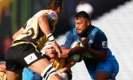 Pauliasi Manu of the Blues is tackled during the round six Super Rugby match between the Blues and the Force at Eden Park
