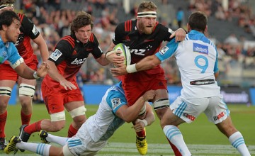 Kieran Read on the charge for the Crusaders against the Blues