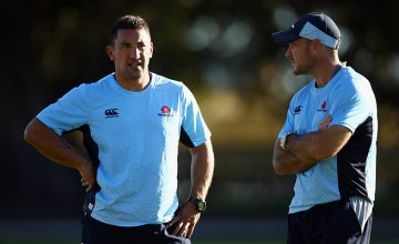 Daryl Gibson and Nathan Grey at Waratahs training