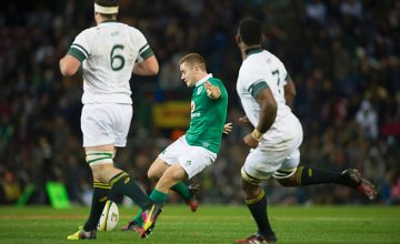 Paddy Jackson kicks a penalty for Ireland in Cape Town