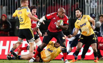 Nemani Nadolo on the attack for the Crusaders against the Hurricanes in 2015