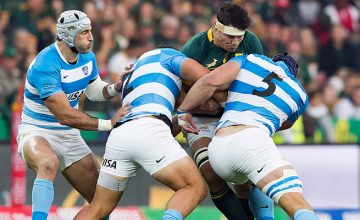 Francois Louw defends the ball for South Africa