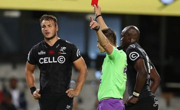 Referee: Marius van der Westhuizen of South Africa showing a red card to Andre Esterhuizen